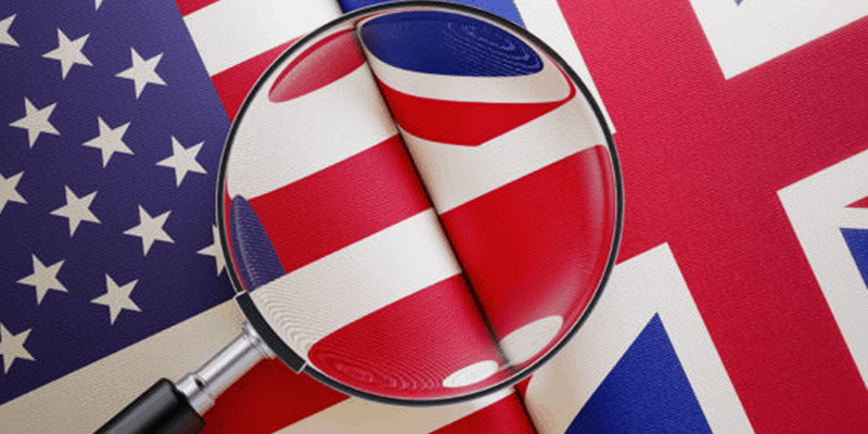 British and American flag with magnifying glass
