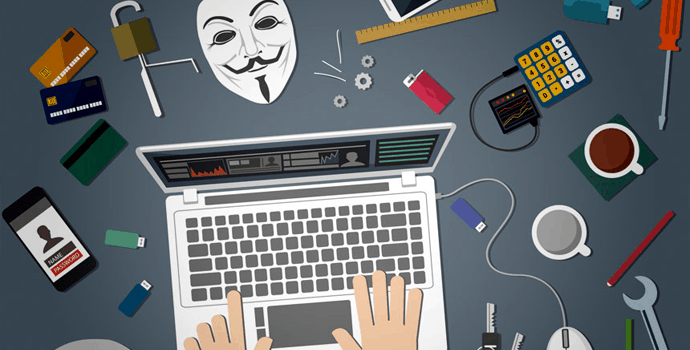 Cyber security hacker tools on desk and laptop